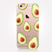 Transparent Avocado iPhone Case - Transparent Case - Clear Case - Transparent iPhone 6 - Gel Case - Soft TPU Case - Samsung S7