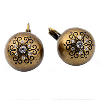Vintage Zinc Alloy Crystal Earrings