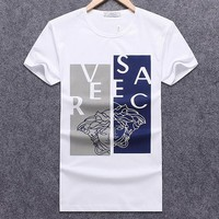 Versace 2018 summer new slim round neck men's fashion short-sleeved T-shirt White