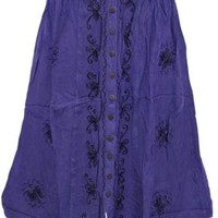 WOMEN'S SKIRT PURPLE EMBROIDERED BOHO HIPPIE GYPSY BUTTON FRONT RAYON SKIRTS