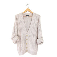 Cable knit cardigan sweater. Slouchy boyfriend sweater. Coziest grandpa sweater. Oatmeal button up sweater. Preppy Fall sweater. Large XL