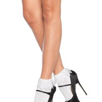 Leg Avenue Female Acrylic Anklet Socks With Venice Lace Top 3035