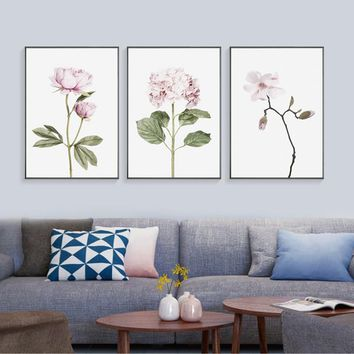 Green Nordic Posters Leafs Pink Flower Wall Art Canvas Painting Posters And Prints Canvas Pictures For Living Room Unframed