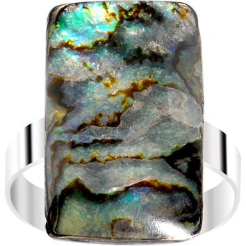 Rectangle Abalone Shell Adjustable Ring