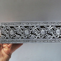 Indian wooden hand carved textile printing on fabric block / stamp unique ETHNIC carving fine floral Border strip pattern