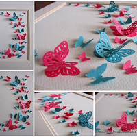 Rose Pink & Turquoise 3D Butterfly Art. Home Decor. Nursery Decor. Wall Art. 8x10