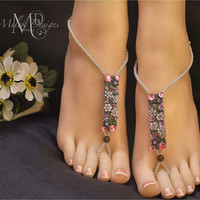 Colorful Flower Cluster White Pearl Barefoot Sandal