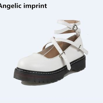 Angelic imprint mori girl lolita shoes woman cosplay shoes lady low heels wedges Pumps women shoe lovely cat face buckle 35-40