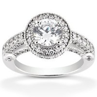 1 1/6ct Vintage Halo Diamond Engagement Ring 14K White Gold