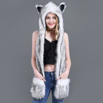 New Fashion Animal Warm Winter Faux Fur Hat Fluffy Plush Cap Hood Scarf Shawl Glove Dint free