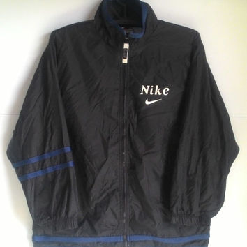 ON SALE 25% Vintage 90s Nike Swoosh Big Logo Streetwear Windbreaker Jacket L (14-15)