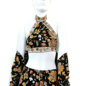 1971 Donald Brooks Boutique Halter Palazzo Pant and Shawl Outfit Butterfly Print