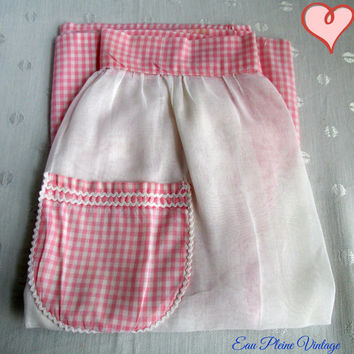 Pink Plaid White Ladies Hostess Half Apron Pocket Vintage Kitchen Accessory