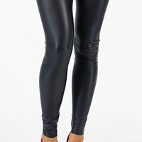 Matte Faux Leather High Waisted Leggings