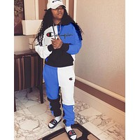 Champion Fashion Women Casual Stitching Color Long Sleeve Top Pants Set Two-Piece Sportswear Blue