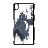 Wolf Song 3 Black Hard Plastic Case for Sony Xperia Z3 by Balazs Solti