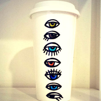 Painted Ceramic Travel Mug 16oz Eyeballs Evil Eye Tumbler Pop Art Optometrist Green brown Blue Porcelain - Made To Order