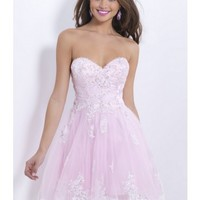 Beautifull Empire Sweetheart Tulle and Lace applique Beading Pink Prom Dress