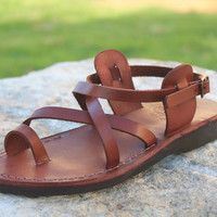 Jesus sandal camel leather sandal from the holy land of Jerusalem brown classic