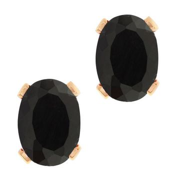 1.36 Ct Oval Shape Black Onyx Rose Gold Plated Brass Stud Earrings