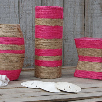 Jute Wrapped Vases, Beach, Coastal, Summer Decor, Glass, Jute, Hot Pink, Natural, Nautical