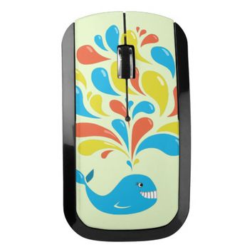 Bright Colorful Splash Happy Cartoon Whale Wireless Mouse