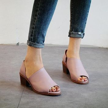 Women's Sandals Casual Footwear Vintage Fish Mouth