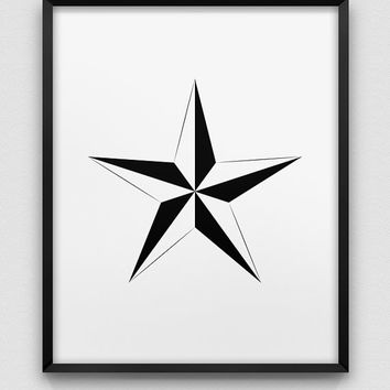 nautical star print // North Star print //  geometric design print  // minimalistic home decor // modern print // finding yourself symbol