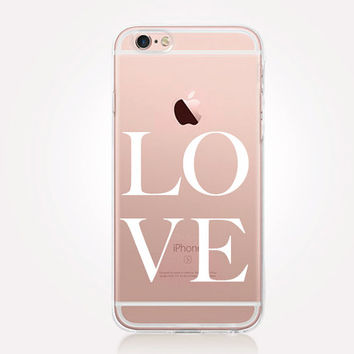 Transparent Love iPhone Case - Transparent Case - Clear Case - Transparent iPhone 6 - Samsung S7 - Soft TPU - Gel Case - iPhone SE