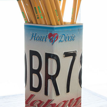 Alabama License Plate Pencil Holder - Pencil Cup - Desk Accessories - Office Decor - Pen Cup - Pen Holder - New Job Gift - Unique Pen Cup