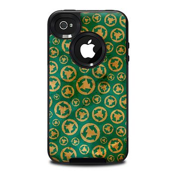 The Yellow and Green Recycle Pattern Skin for the iPhone 4-4s OtterBox Commuter Case