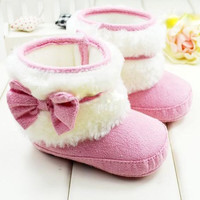 Pink Soft Bottom Snow Boots