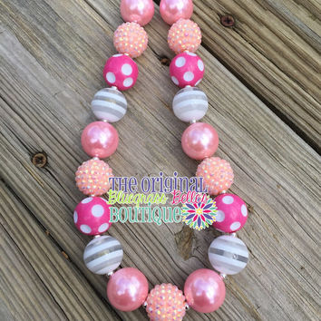 Peach & Rosey Pink bubblegum necklace | peach chunky necklace | rose chunky