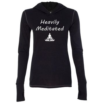 Yoga Clothing for You Womens Heavily Meditated Lightweight Hoodie Tee Shirt