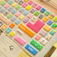 Rainbow Color with Dot and Heart Pattern Keyboard Protective Film [594