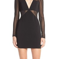 Jay Godfrey 'Merrill' Illusion Mesh & Crepe Sheath Dress | Nordstrom