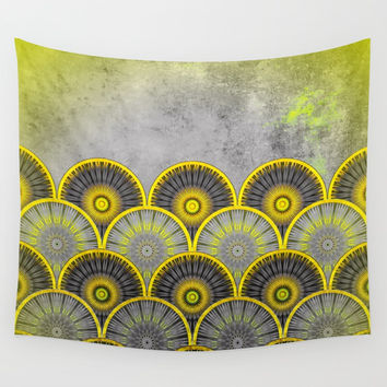 Abstract mandala scale pattern Wall Tapestry by Jeanette Rietz