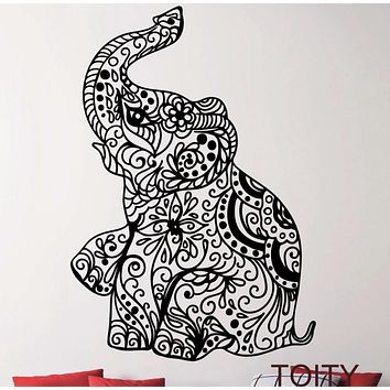 Elephant Indian Pattern Yoga Cute Vinyl Wall Decal Sticker Art Bedroom Children Nursery Home Interior Design Decor