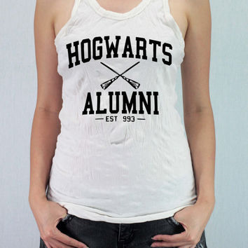 HOGWARTS ALUMNI Harry Potter - Women Wrinkle Shirt Racer Tank Top Tank Racer Back with traditional silk screen
