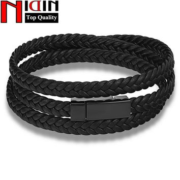 Hot Fashion Men Leather Bracelet  Wrap Weave Bracelets for Men Stainless Steel Black Magnetic Punk Cuff Charm Bangles Jewelry
