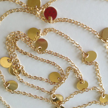 60 Inch - Courtney Cox Cougar Town Necklace -Tiny Discs Long 14k Gold Disco Necklace - Celebrity Style