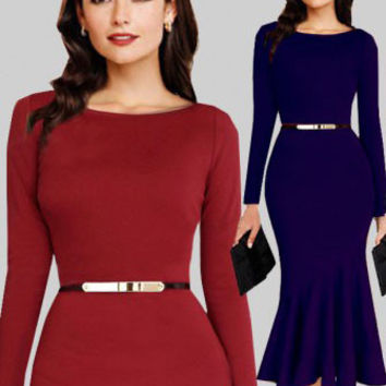 Long Sleeve Fishtail Bodycon Midi Dress