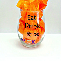 Eat Drink & Be WICKED Stem Less Hand Painted Wine Glass Tumbler/Eat Drink Be WICKED Wine Glass Tumbler/Halloween Wine Glass