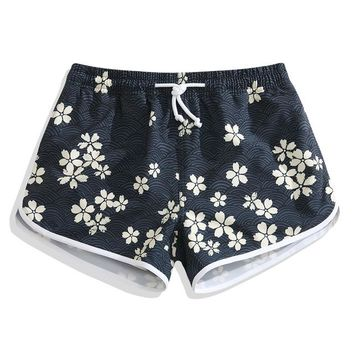 Women High Quality Sexy Hot Pants Summer Loose High Waist Japanese Style Flowers Printed Beach Shorts Quick Dry Workout Shorts