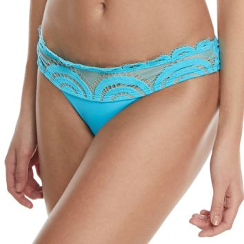 PILYQ Lace Banded Full Swim Bikini Bottoms Blue $69