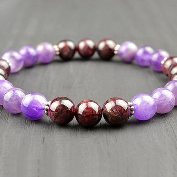 Garnet Amethyst Crystal Healing Bracelet Yoga Meditation Chakra Bracelet Wish Gemstone Therapy Reiki Stretch Bracelet Energy Fertility