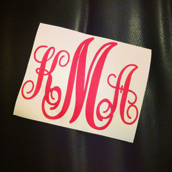 Monogram Car Decal Initials Car Decals Pink Monogram Decals Monogram Stickers Monogrammed Car Decal Monogrammed Stickers Monogrammed Decals