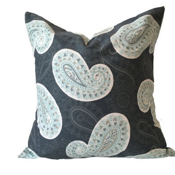 Decorative Pillow Cover - One, 18 x 18, Paisley Pillow, Canal Blue Aqua Taupe Pillow, Throw Pillow, Modern Accent Pillow, Navy Pillows