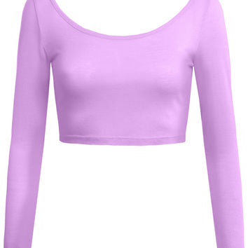 LE3NO Womens Lightweight Fitted Deep Scoop Neck Long Sleeve Crop Top