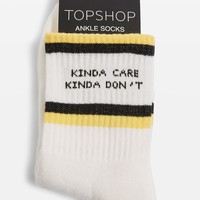 'Kinda Care Kinda Don't' Tube Socks | Topshop